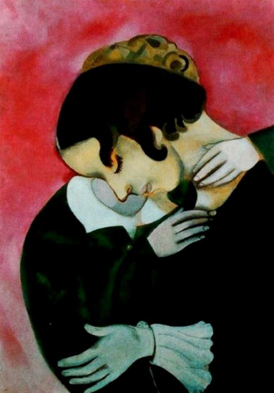Marc Chagall. Lovers in pink 1916