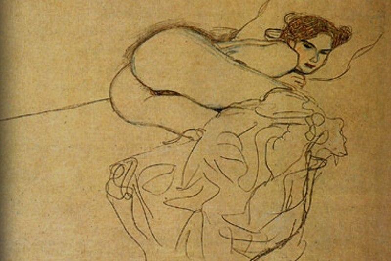 Gustav Klimt. Reclining woman 1912- 1913