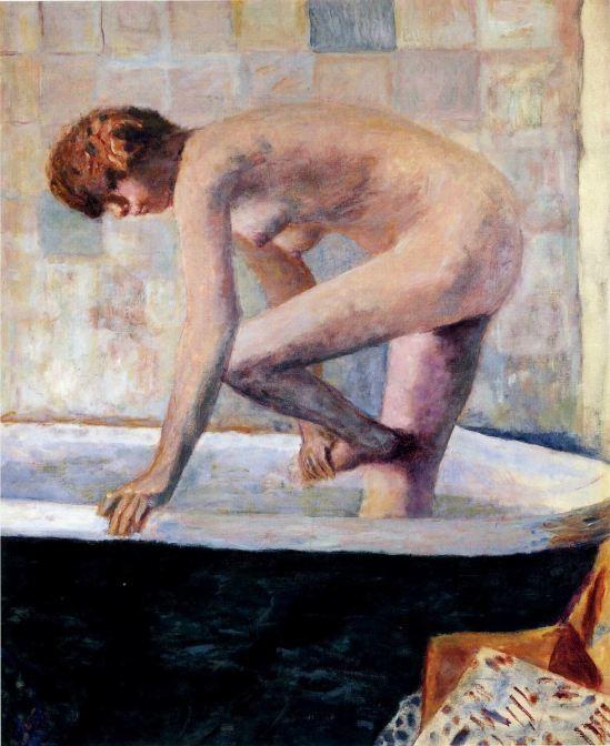 Pierre Bonnard. Nude washing feet in a bathtub