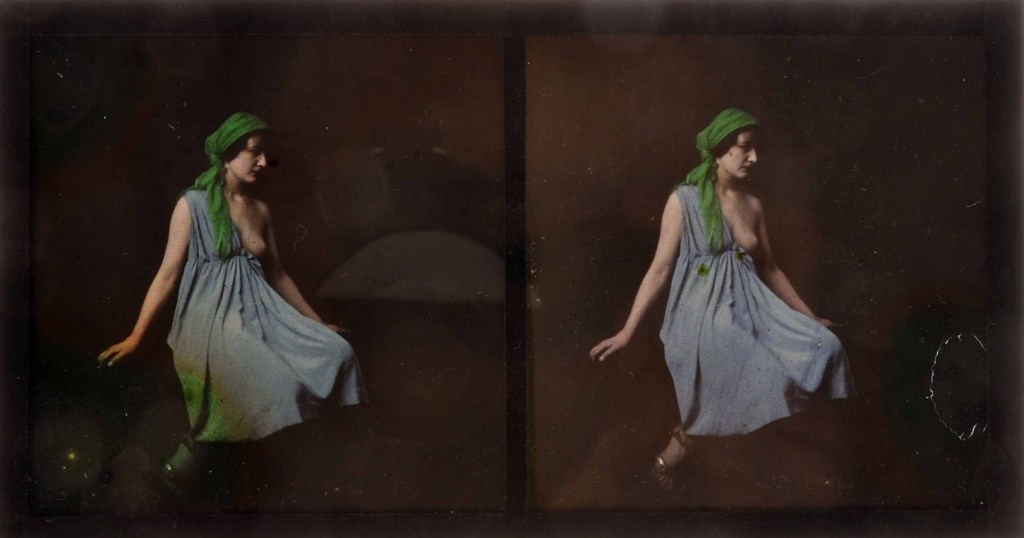A Lumière autochrome stereo nude portrait study, reclining girl in blue dress, left breast exposed