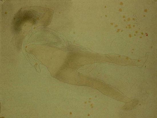 Auguste Rodin. Femme allongée le vêtement retroussé jusqu'aux seins 1900-1901