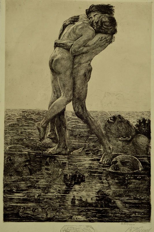 Bruno Héroux (1868-1944). Pain. Etching
