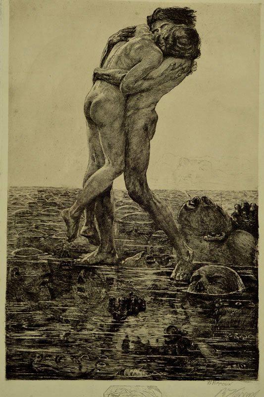Bruno Héroux (1868-1944). Pain. Etching