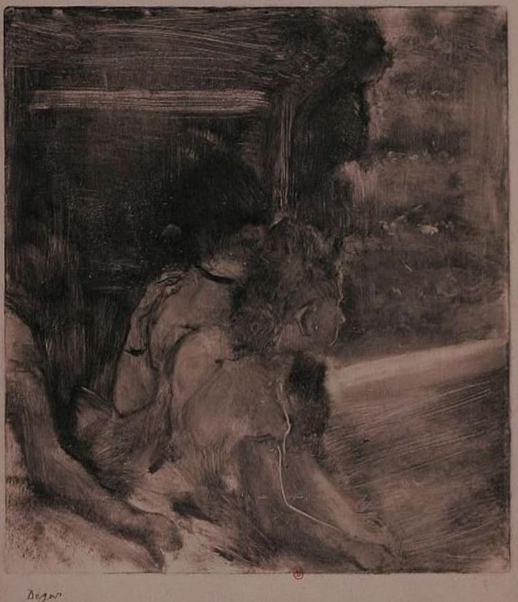 Edgar Degas. Au théâtre  vers 1878-1880. Monotype