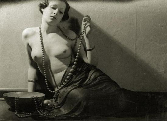 Female nude with necklace 1930s. Attributed to Jean-Marie Auradon. Via liveauctioneers