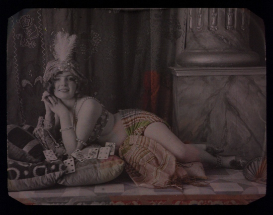 Louis-Amédée Mante (attributed to). Odalisque with playing cards 1912. Autochrome. Via iphotocentral
