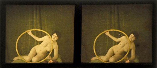 Nude Stereo Autochrome Slides, c. 1910. Via liveauctioneers
