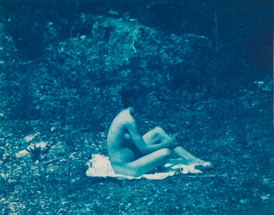 Thomas Eakins. Susan Mac Dowell Eakins nude, sitting, facing right, hands clasping left leg 1883. Via pafa.org
