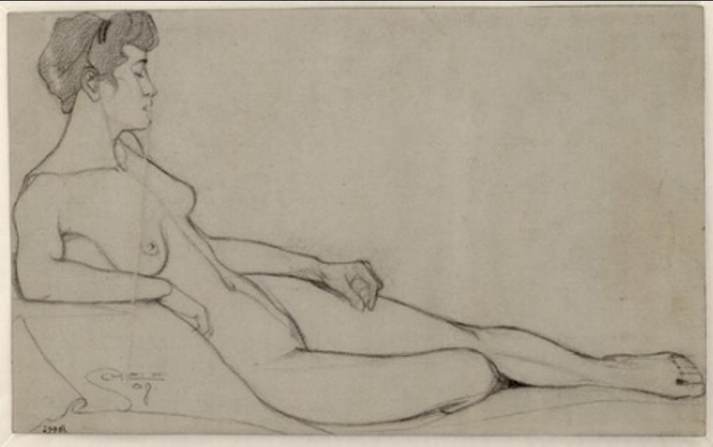 Egon Schiele. Liegender frauenakt 1908