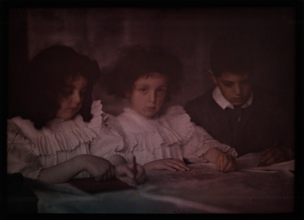 John Cimon Warburg. Children drawing. Autochrome. Via ssplprints