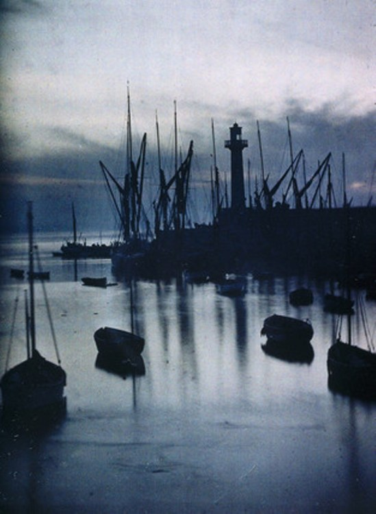 John Cimon Warburg. The harbour. Autochrome. Via ssplprint