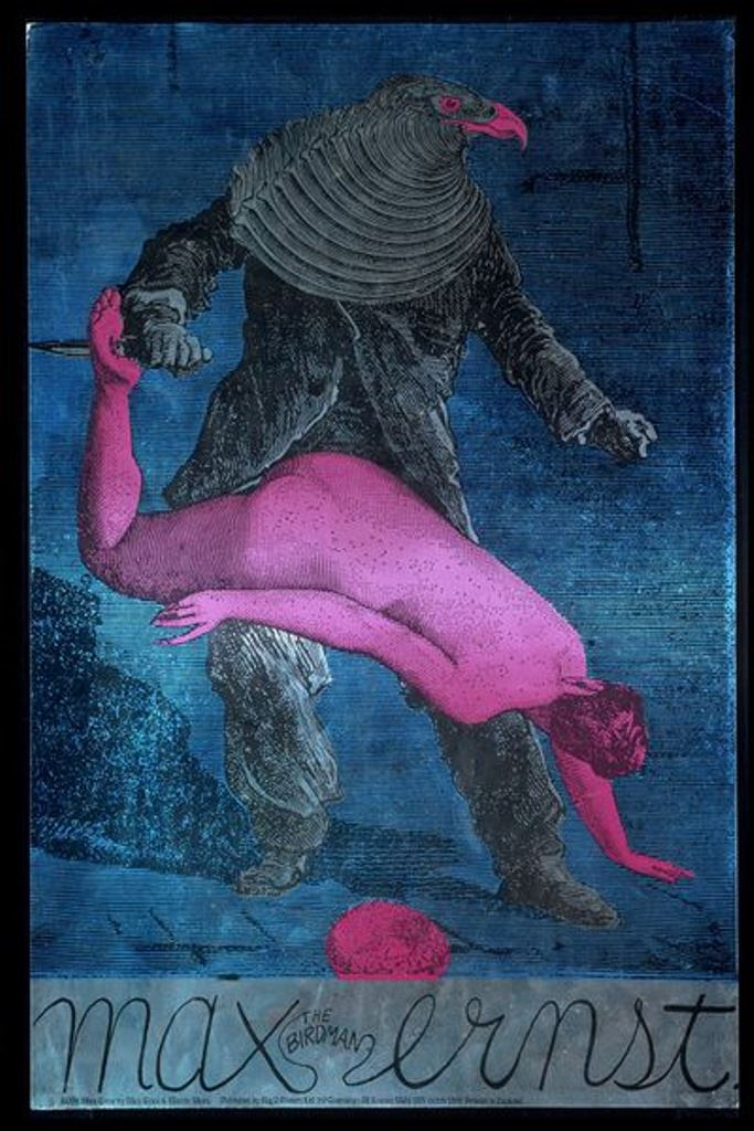 Martin Sharp. Max The Birdman Ernst 1967. Tribute to Max Ernst. Color lithograph and silkscreen on metallic card
