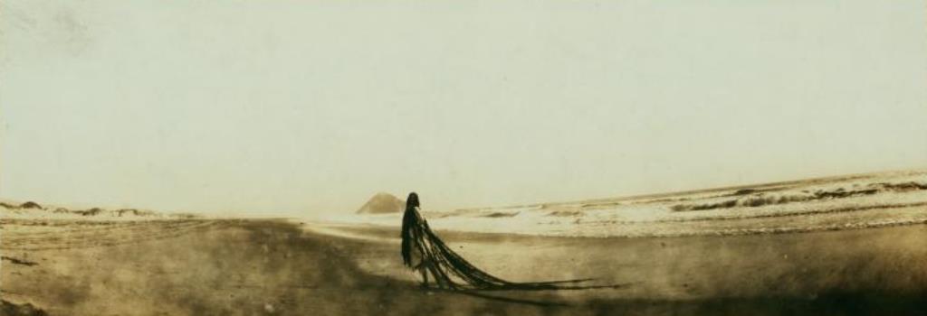 Ruth St Denis alone on the beach at Atascadero, Calif. 1916. Via nypl