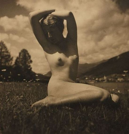 Rudolf Koppitz. Nude in the meadow 1923. Via artnet
