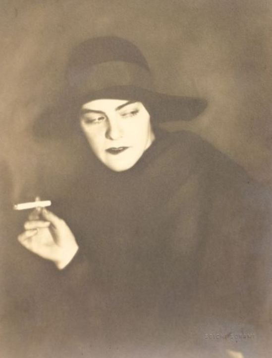 Soichi Sunami.  Ethel Sager in Hat with Cigarette before 1950. Via ebay