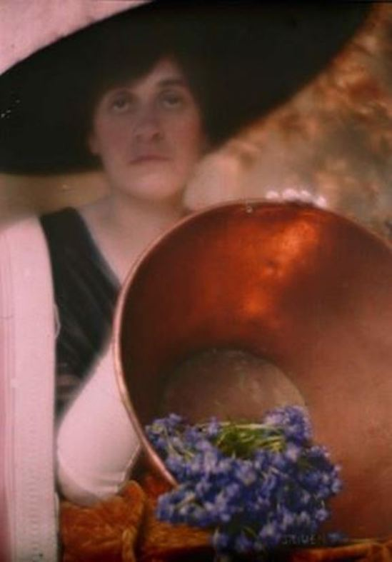 Edward Steichen. Emmy Stieglitz with copper bowl 1910. Autochrome. Via eastman museum