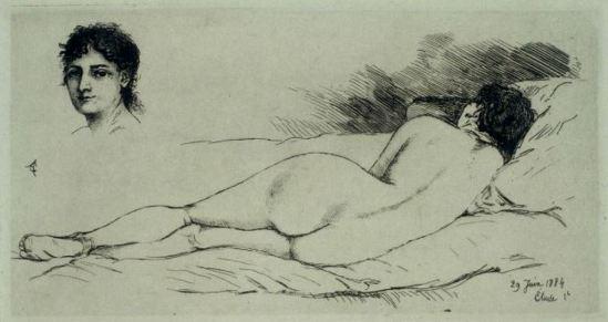 alfred-pierre-agache-femme-nue-etendue-tete-de-femme-1884