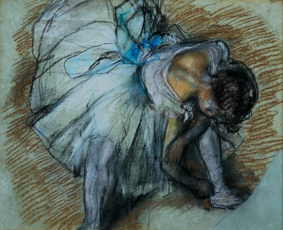 edgar-degas-dancer-adjusting-her-shoe-1885-pastel-on-paper