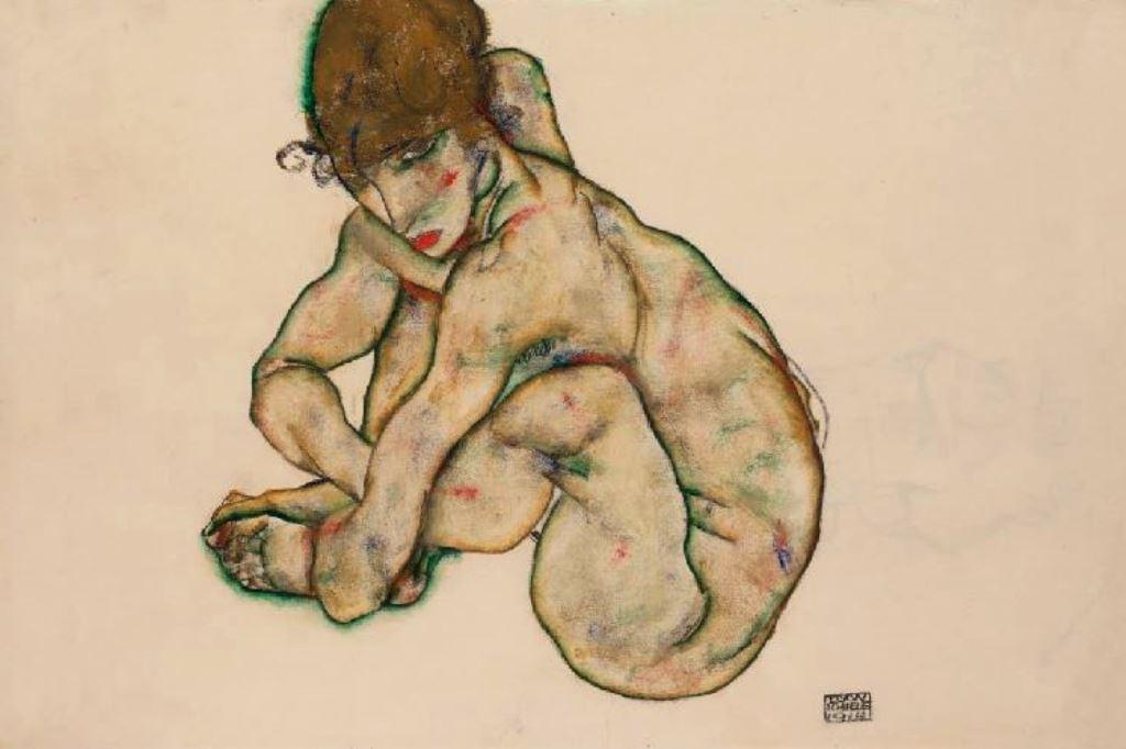 egon-schiele-crouching-nude-girl-1914