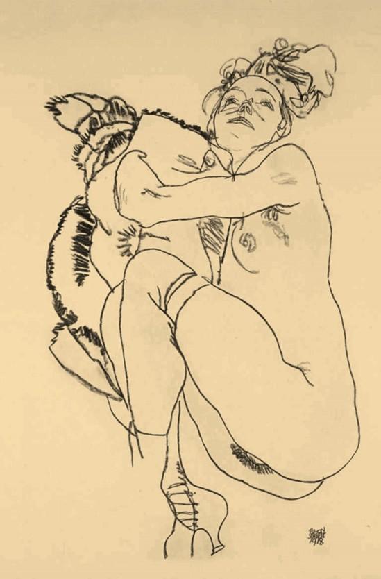 egon-schiele-reclining-nude-from-the-portfolio-handzeichnungen-1918
