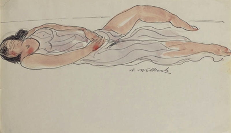 Abraham Walkowitz. Isadora duncan. Pen black ink and watercolor
