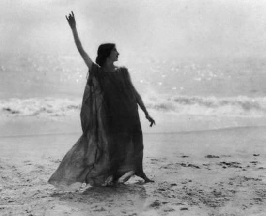 Arnold genthe. Stella Block,pupil of Isadora Duncan standing on beach 1900. Via ebay