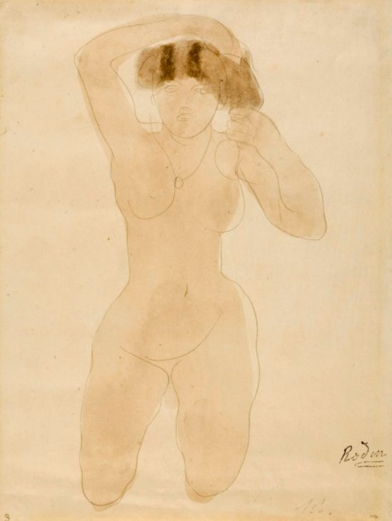 auguste-rodin-kneeling-nude-woman-arranging-her-hair-1900
