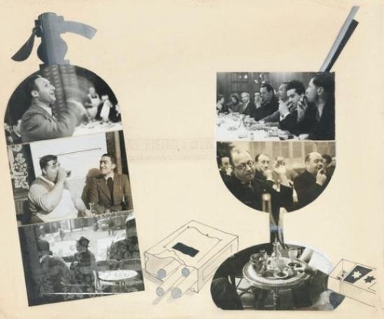 Blanc et Demilly-Au bistrot, à Lyon, Leicagraphies Demilly, vers 1935-39 Photocollage, gouache, encre sur carton