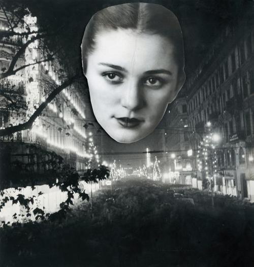 Blanc et Demilly3-Portrait dans la nuit, vers 1945-1950 (photocollage)