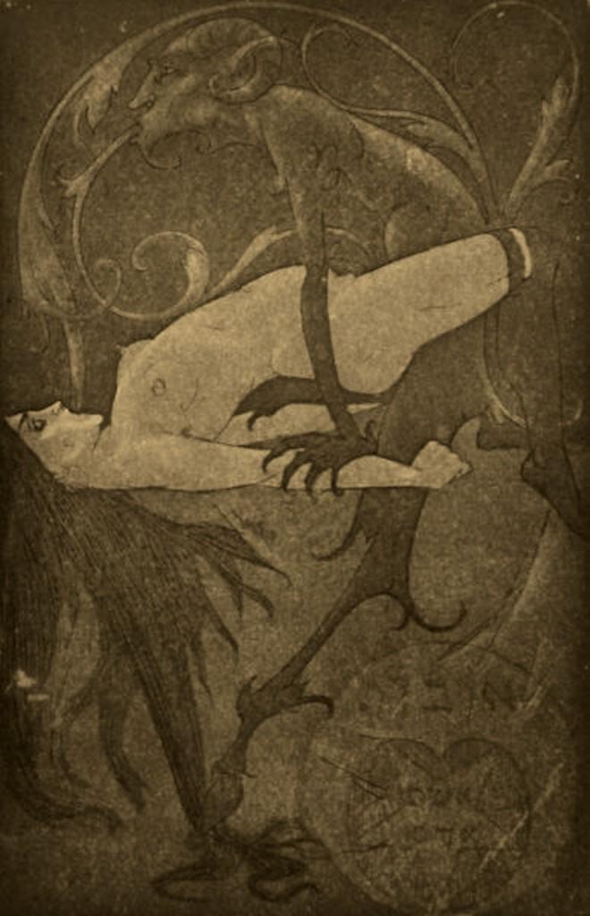 Henry Chapront.For the book La Bas de J.K. Huysmans. La Possession 1912. Ink on paper