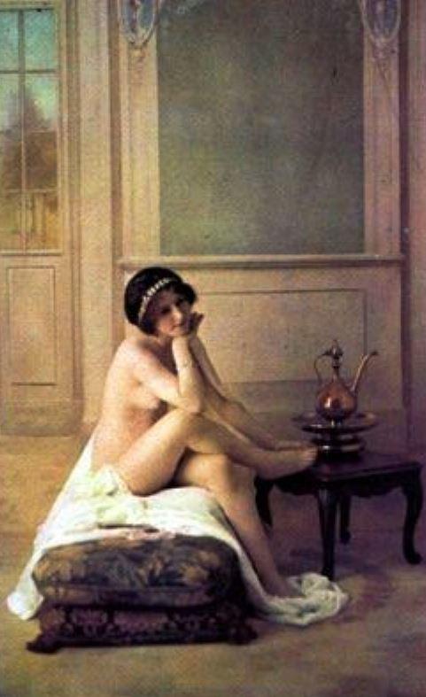 Louis-Amédée Mante. Modèle professionnel dans un décor peint 1895-1898. Autochrome ®Famille Mante