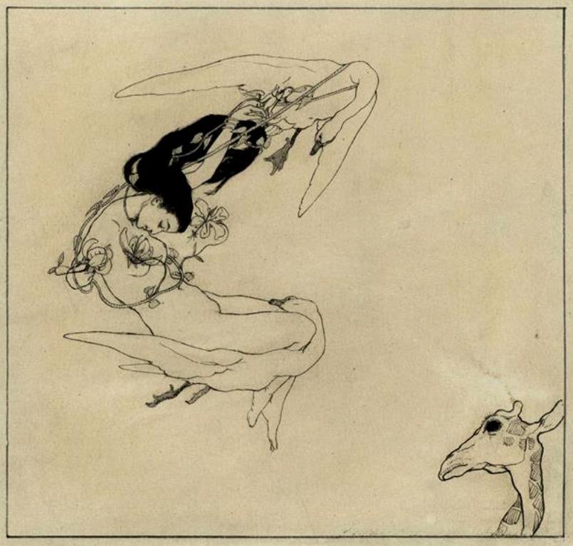Max Klinger. Illustration zu Sakuntulla (eine nackte Frau wird von zwei Schwänen durch die Luft gezogen)
