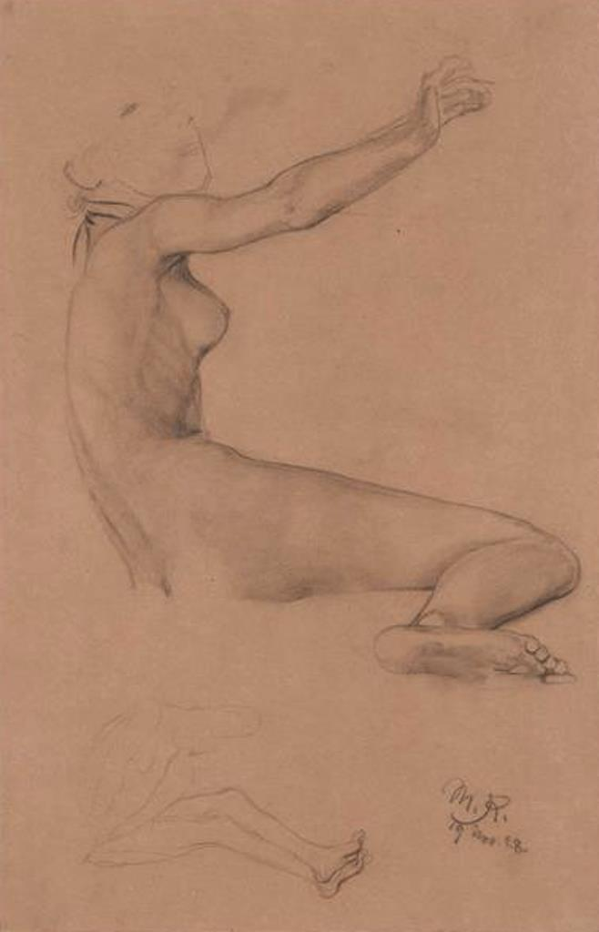 Max Klinger. Liegender weiblicher Akt. Darunter ähnliche kleinere Skizze 1888