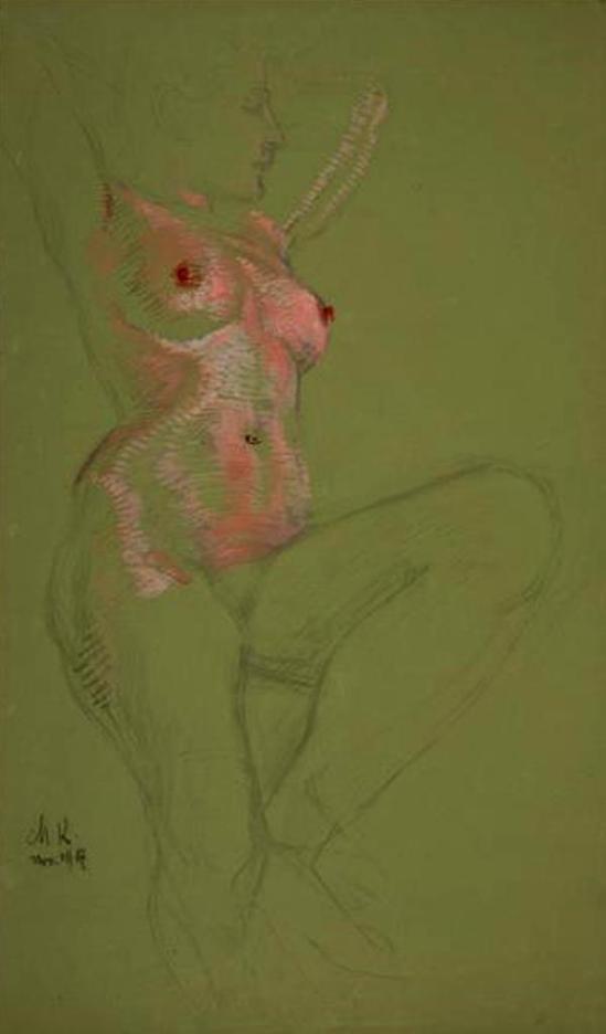 Max Klinger. Mädchenakt in Rosa 1907