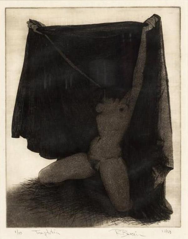 Rick Bersin. Nude female 1950-1960. Etching1