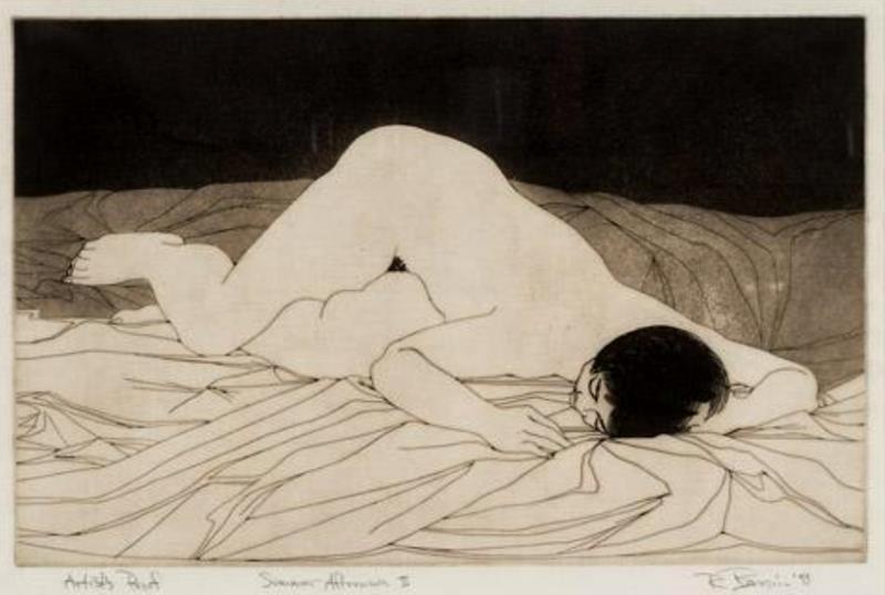 Rick Bersin. Nude female 1950-1960. Etching2