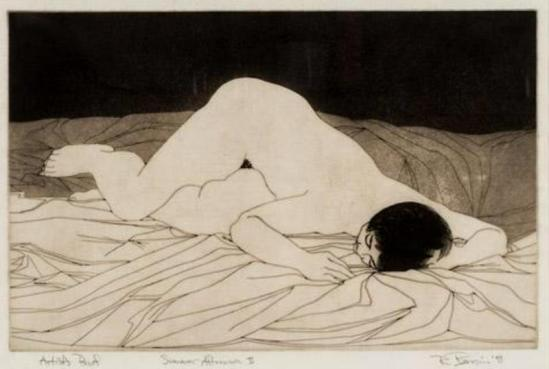 Rick Bersin. Nude female 1950-1960. Etching2