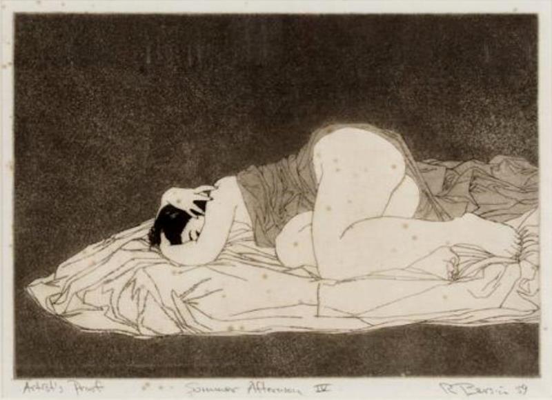 Rick Bersin. Nude female 1950-1960. Etching3