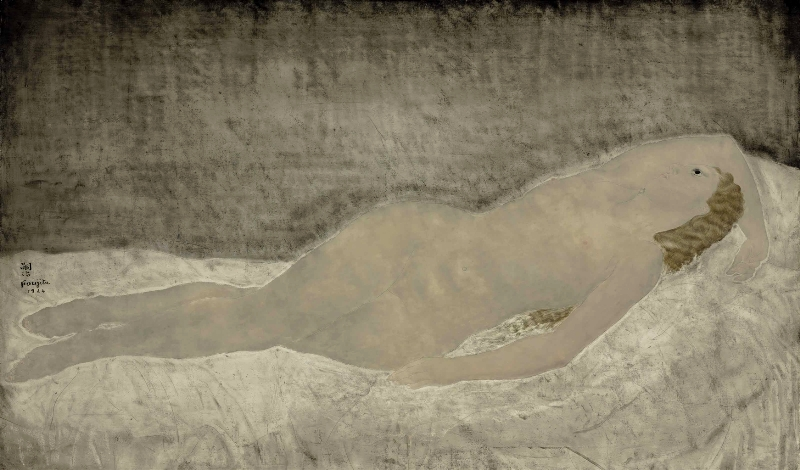 Tsuguharu Foujita. Lying nude with raised arm 1924. Oil on canvas. Via theredlist