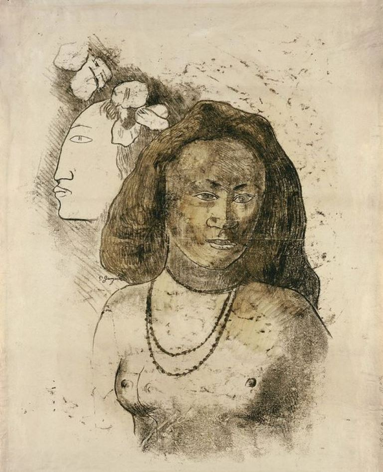 Paul Gauguin. Tahitian woman with evil spirit. Monotype 1899