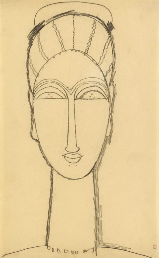 Amedeo Modigliani. Female Head 1911–1912. Black crayon on paper