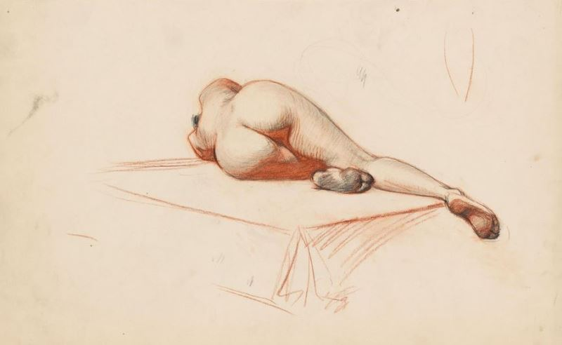 Edward Hopper. Reclining nude from bacck 1902. Fabricated chalk and graphite pencil on paper