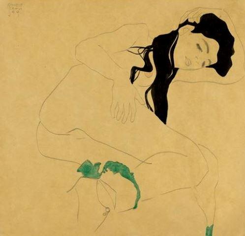 Egon Schiele. Femme allongée 1909