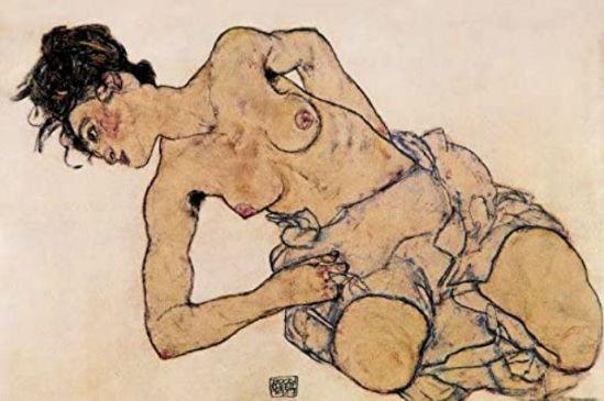 Egon Schiele. femme demi-nue accroupie 1917